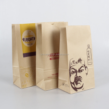 Moisture proof bottom gusset self standing up kraft food grade paper bag