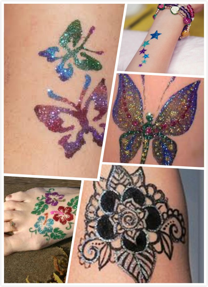 Self Adhesive Reusable Glitter Tattoo Stencil/Temporary Tattoo Stencil
