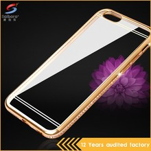 Low moq unique design diamond ectroplating tpu mirror case for iphone7