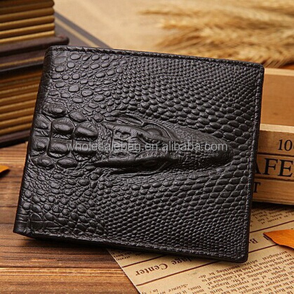 Fashion Trend Tridimensional Crocodile Embossed Men Bi-fold Leather Wallet Purse
