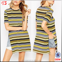 New arrival side splits tee factory price stripe women gothic t-shirt