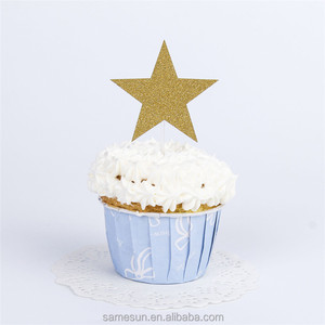 Star Glitter Paper Cake Toppers For Christmas Decoration