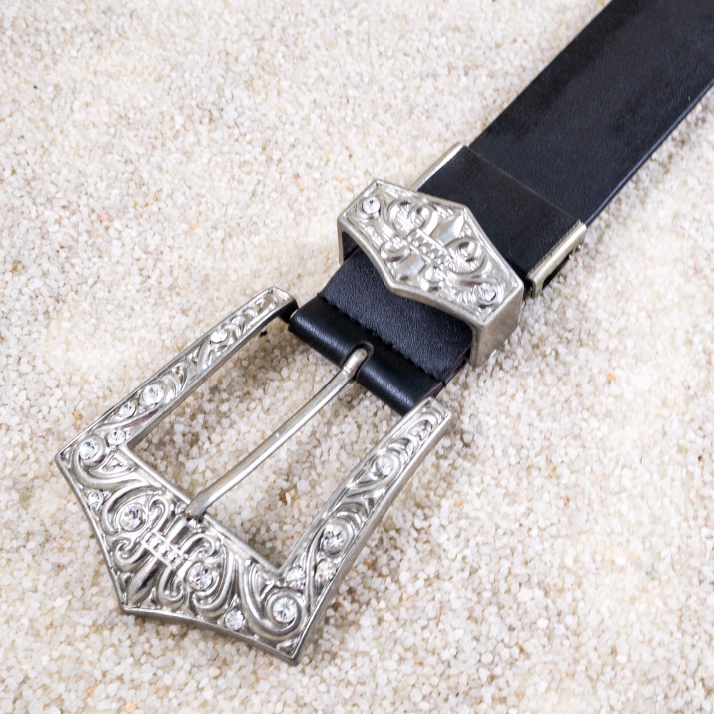 Mens yellow gold finish simulated diamond belt men concho leather belts
