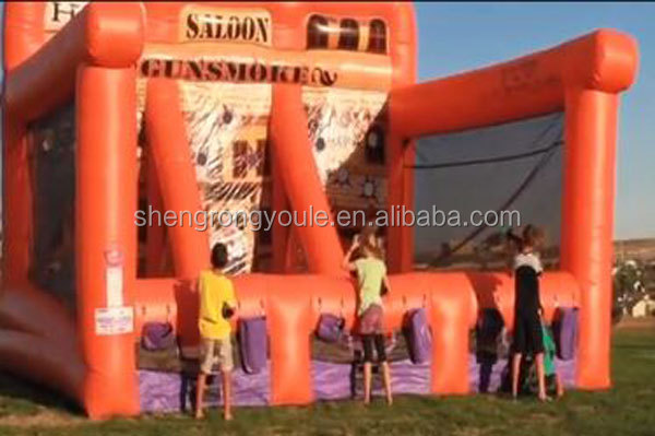 interactive inflatable 3 Lane Gunsmoke Shooting game Gallery