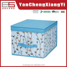 Folding polyester fabric covered storage box with lid