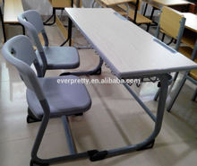 Factory directly sale school furntirue /double wooden school desk and chair/high quality desk with PE chair