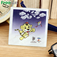 Customed logo printing L100*H100*W4mm square coaster sublimation toughened blank glass photo coaster