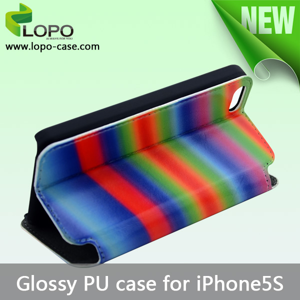 High quality Blank Sublimation PU leather case for iPhone5S glossy surface cover
