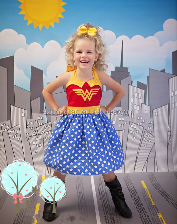 Little Girls Wonder Woman Super Hero Dress Children School Play Dress