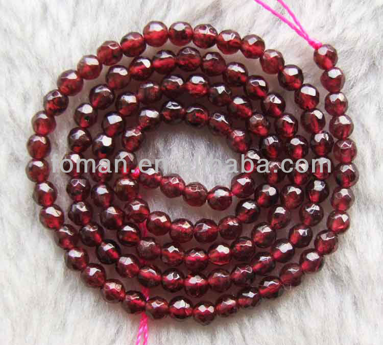 4mm round faceted loose natural gemstone garnet red gemstone beads