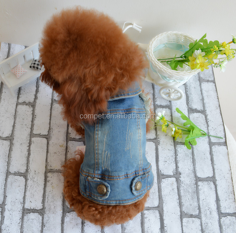 Retro-scratched grain cowboy dog clothes small spring/summer/autumn Teddy bear vest pet clothing