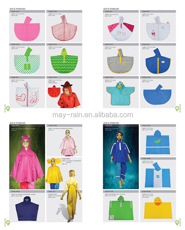 Lovely Kids Raincoat Suppliers 100% Polyester PVC Children Rain Poncho Wholesale