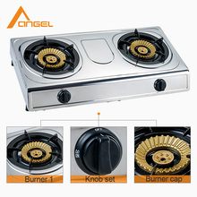 China Portable Kitchen Standard Double Burner Gas Stove Size With Grill In India