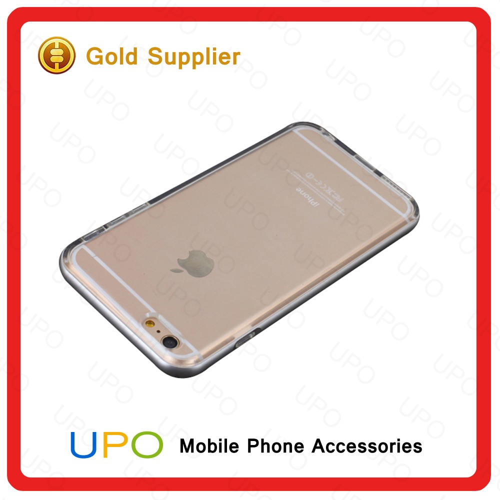 [UPO] New Arrival Aluminum Metal Bumper Frame + Transparent Clear TPU Cover Soft Phone Case for iPhone 6 6s