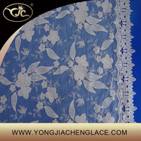 Guang zhou white organze flower embroidery lace fabric