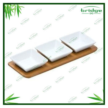 3 serving ceramic bamboo wood tray table