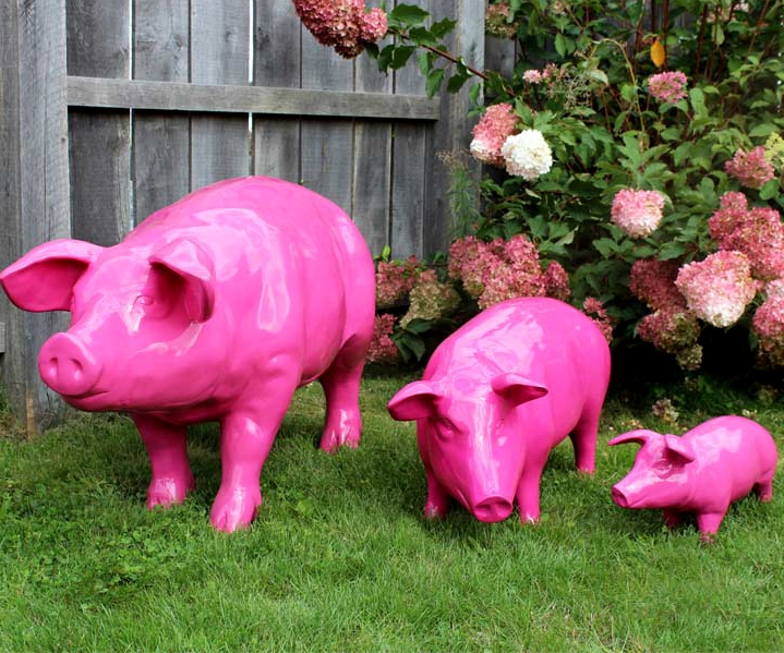 Artificial glossy pink life size resin fat pig statue
