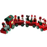 2015 Hot New Lovely 4 Piece Little Train Wood Wooden Indoor Christmas Xmas Train Ornament Decoration