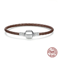 Newest Original 925 Sterling Silver Wholesale 4 Color Genuine Leather Snake Chain Bracelets for Women Fine Jewelry