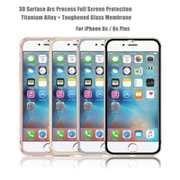 For iPhone 6 & 6s Colorful Aluminum Metal Frame Tempered glass screen protector / Full size Tempered glass