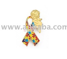 Autism Awareness Ribbon Lapel Pin with Angel
