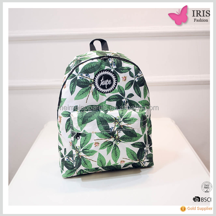 Iris palma leaf printing women plain nylon backpack shoulder bag with ladies