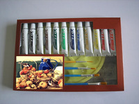 4pcs Brush 12pcs of 12ml Acrylic Paint with palette artist set