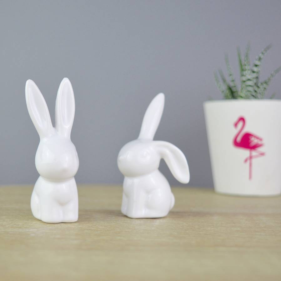 Cute Ceramic Bunny Rabbit Ring Stands in White