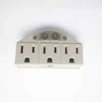Beige 3 Outlet Grounded AC Power Sensor Night Light Wall Tap Adapter