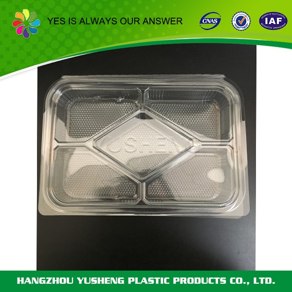 PET food packaging box, disposable/clamshell/two compartments