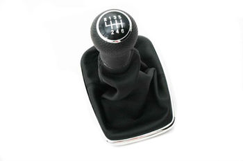 Chrome Gear Shift Knob & Boot (Rubber grip 6 Speed) For VW Volkswagen Golf Jetta Bora MK4
