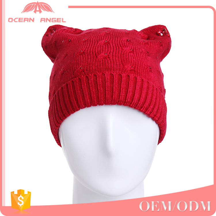 2017 Hot sale Women lady chunky Knit Hat Cat Ears Crochet handmade Beanie