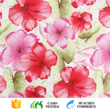 best quality pink flower digital printed 100 percent italian woven cotton shirt fabric on sale