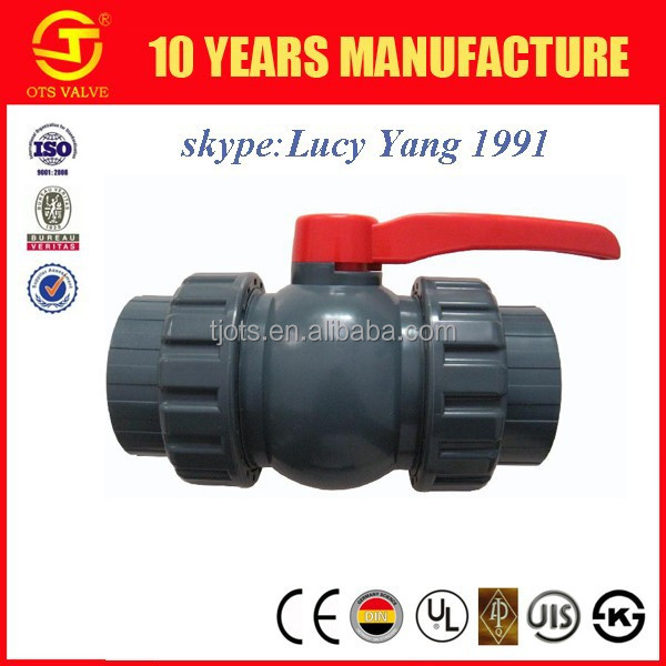 upvc pvc double union socket or thread ball valve