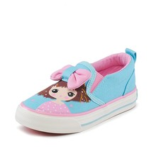 CV7004 2017 new model slip on bowknot cute kids vulcanized canvas shoes