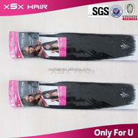 "Wholesale popular heat friendly synthetic yaki 16"" weft hair extnsions"