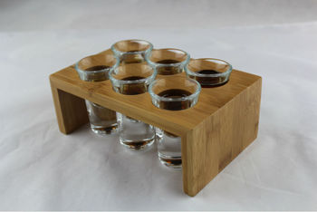 Bamboo 6 Hole Wine Rack Bar Bullet KTV A Cup Of Wine Rack Shot Bamboo Shelves Beverage Holder