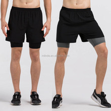 Men Running shorts wholesale 2 in 1 fitted bike cycle black Shorts with inside compression lycra boxer Fitness Men's Gym shorts