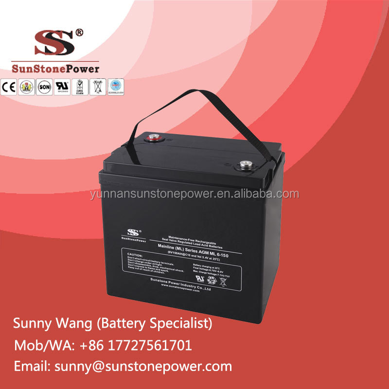 6V 150AH Rechargeable Lead Acid Battery Emergency Power Supply Stationary Batteries