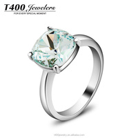 T400 2015 new fashion stain steel jewelry wedding ring crystal from Swarovski