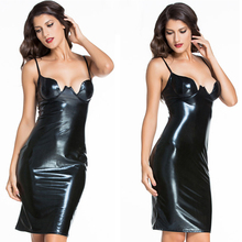 2018 Black Sexy Women Clothes Factory Wholesale Latex Dress