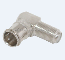right angle type F female to F quick plug RF coaxial connector