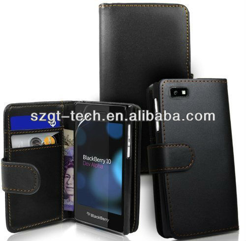 Flip cover wallet leather case for Blackberry Z10