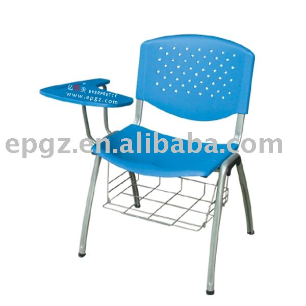 plastic sketch chair with writing pad and book net for school furniture
