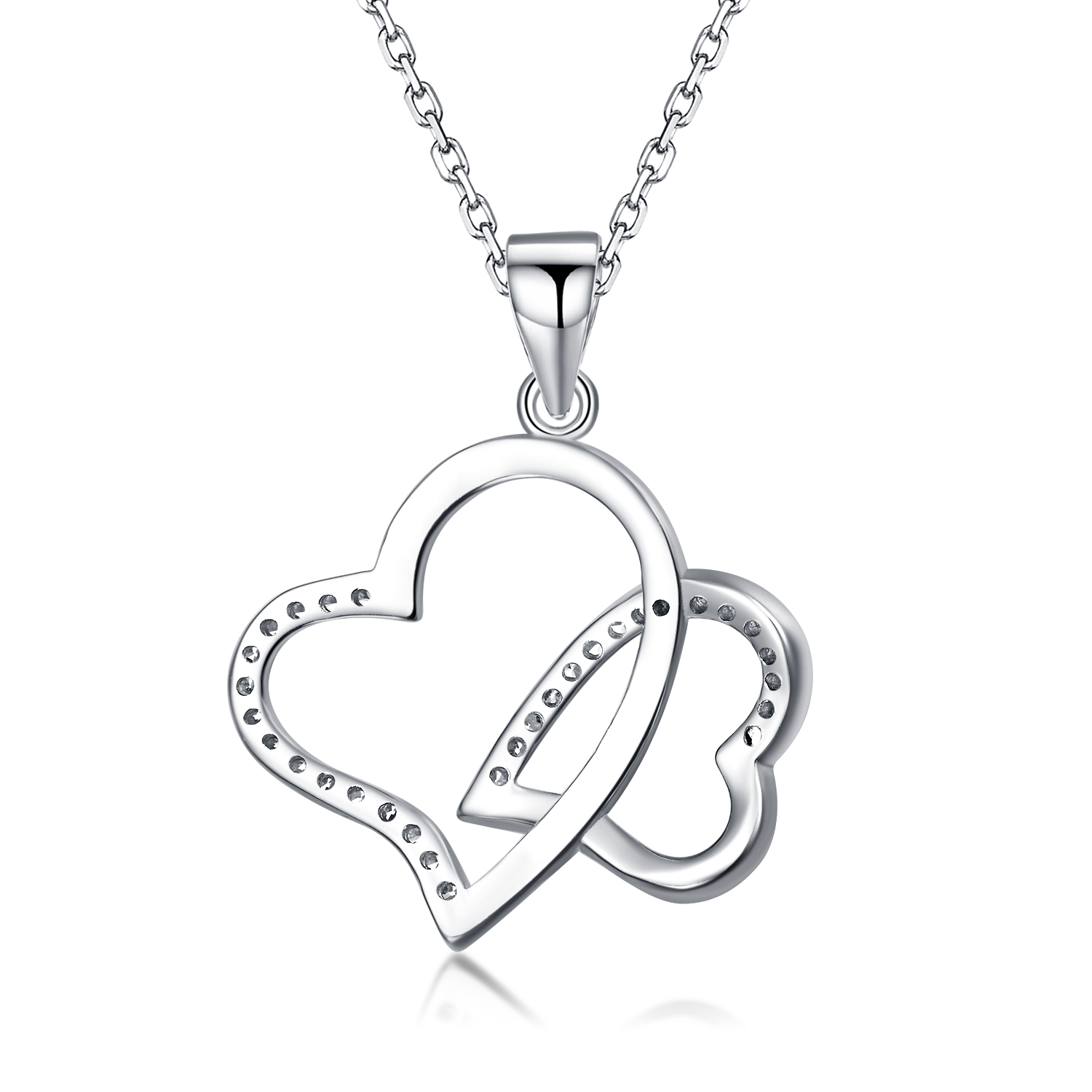 2018 Hot Sales Wholesale Sterling Silver Double Diamond Heart Necklaces