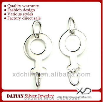 XD P319 925 sterling silver male symbol earring connectors