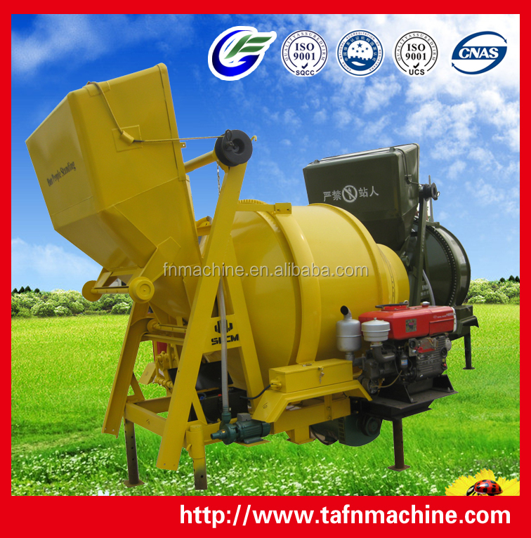 Hot sell concrete mixer by diesel hydraulic hoist hopper