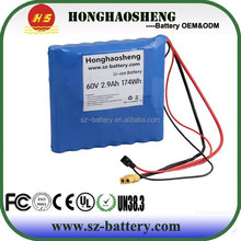 HHS Battery Lithium Battery Pack 60V 2.9Ah Customized Batteries For Solowheel