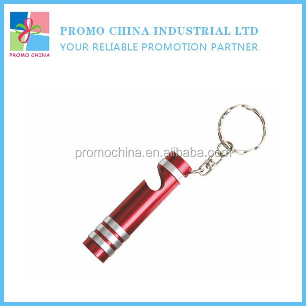 Red Aluminum Alloy Metal Led Torch Bottle Opener With Keychain