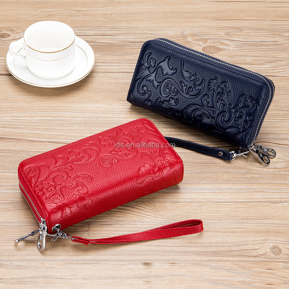 RFID blocking flower pattern purse credit card holder patent Anti-Scanning double zipper wallet  for ladies